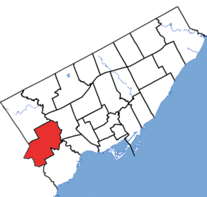 Etobicoke Centre (electoral district) - Etobicoke Centre in relation to the other Toronto ridings (2015 boundaries)