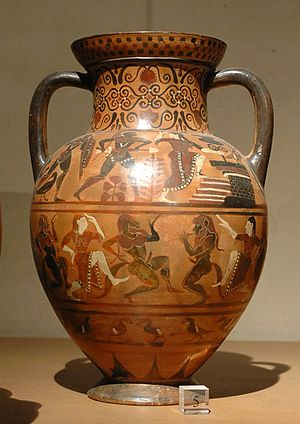 Pontic Group - Diomedes and Polyxena, Pontic amphora by the Silenus Painter, circa 540/30 BC. Paris:Louvre.
