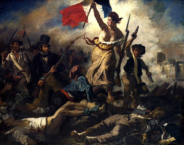Liberty Leading the People (1830) by Eugène Delacroix commemorates the July Revolution of 1830. The child with the gun, at the right of the woman personifiying Liberty, who holds the Republican, tricolor flag, would be Victor Hugo's inspiration for Gavroche in Les Misérables, who would die on the barricades in June 1832.