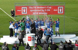 Everton L.F.C. - Everton Ladies celebrate the 2010 Cup win