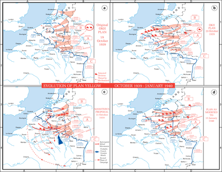 The evolution of German plans for Fall Gelb, the invasion of the Low Countries Evolution of Plan Yellow.PNG