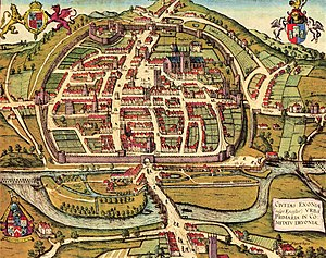 Exeter - An illustration of Exeter in 1563, entitled Civitas Exoniae (vulgo Excester) urbs primaria in comitatu Devoniae