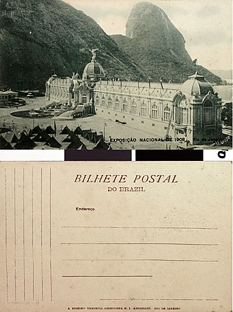 Exhibition of the centenary of the opening of the Ports of Brazil - Postcard showing the industry pavilion