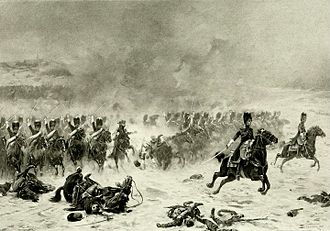 Grenadiers à Cheval de la Garde Impériale - Colonel Lepic charging at the head of the Grenadiers à Cheval at Eylau.