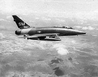 Tuy Hoa Air Base - North American F-100D-25-NA Super Sabre Serial 55-3642 of the 308th Tactical Fighter Squadron.