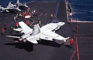 VMFAT-501 - An F/A-18A of VMFA-451 on the USS Coral Sea in 1989.