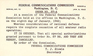 Amateur radio licensing in the United States - Cancellation notice of all amateur licenses in World War 2