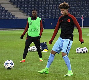 Jadon Sancho - Sancho (right) with Manchester City in 2017