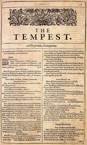 Writer - Title page of Shakespeare's The Tempest from the 1623 First Folio