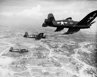 VMFA-323 - VMF-323 FG-1Ds over Okinawa, 1945.