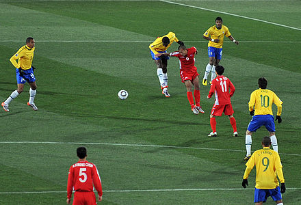 North Korea (in red) against Brazil at the 2010 FIFA World Cup FIFA World Cup 2010 Brazil North Korea 7.jpg