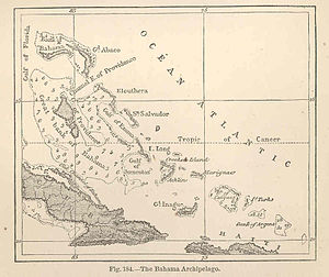 Mouchoir Bank - Mouchoir Bank in the lower right of an 1873 map of the Bahamas.