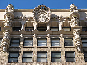 Million Dollar Theater - The facade at the top of the building