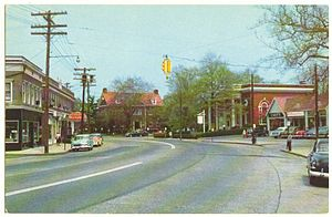 Fairfield, Connecticut - Fairfield Center in a 1956 postcard