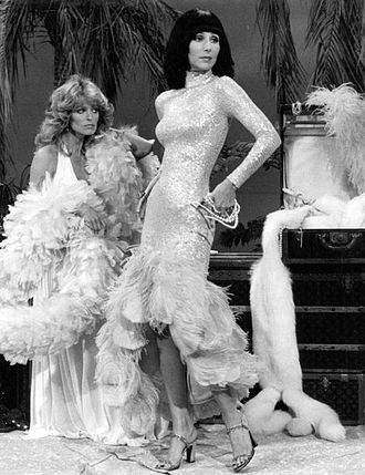 Farrah Fawcett - Fawcett (left) with Cher on The Sonny & Cher Show in 1976