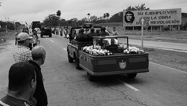 Fidel Castro's funeral procession passing through Sancti Spíritus Province, Cuba.