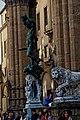 Firenze - Florence - Piazza della Signoria - View ESE on Perseo con la testa di Medusa 1554 by Benvenuto Cellini & Flaminio Vacca's Lion 1598.jpg