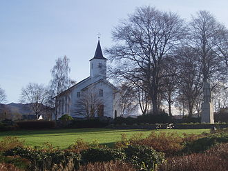Haakon the Good - Haakon's Park (Håkonarparken) opposite  Fitjar Church (Fitjar kyrkje)