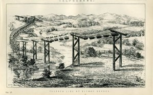 Fleeming Jenkin - Drawing of the telpher designed and engineered by Fleeming Jenkin – the first telpher ever. It was installed in Glynde, UK in 1885-- finished after Jenkin's death.