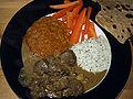 Flickr - cyclonebill - Lamb Korma, raita, Masoor Dal, gulerødder og chapati.jpg