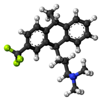 Ball-and-stick model of the fluotracen molecule