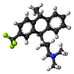 Ball-and-stick model of the fluotracen molecul...