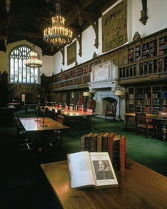 Folger Shakespeare Library - The Gail Kern Paster Reading Room at the Folger Shakespeare Library, with a First Folio in the foreground.