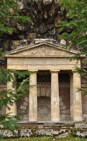 Folie Saint James - Doric temple in the artificial rock hill.