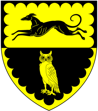John Ford (dramatist) - Arms of Ford of Bagtor and Nutwell: Party per fesse or and sable, in chief a greyhound courant in base an owl within a bordure engrailed all counter-changed