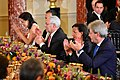 Former Secretary Powell, Ambassador Rice, and Italian Foreign Minister Gentiloni Clap at a State Luncheon in Honor of Italian Prime Minister Renzi in Washington (29781965223).jpg