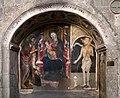 Francesco zacchi detto il balletta, madonna in trono col bambino, il battista e una committente, sangue di cristo dell'eucarestia, xv secolo 01.jpg