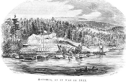 Fort Astoria, as established by John Jacob Astor in 1813 Franchere fort astoria 1813.jpg