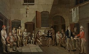 Francis Greenway - Painting by Greenway of a mock trial in Newgate Prison, Bristol, 1812, held at the State Library of New South Wales