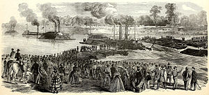Bailey's Dam - Contemporary engraving of the vessels riding through the dam