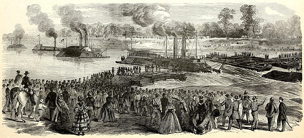Contemporary news engraving of Porter's fleet riding through Bailey's Dam Frank Leslie's Scenes and Portraits - Bailey's Dam.jpg