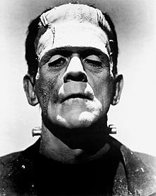 Black and white promotional photograph of Boris Karloff, showing the actor's head and shoulders in make up and costume