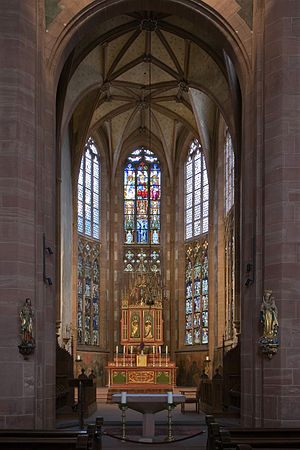 St. Leonhard, Frankfurt - Gothic choir with stained-glass windows, 2008