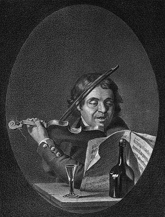 Fredmans epistlar - Lithograph of Jean Fredman by Pehr Hilleström, 1865