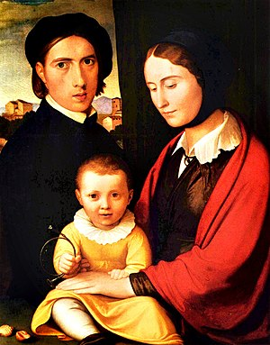 Johann Friedrich Overbeck - Self-portrait with family, c. 1820, Behnhaus.