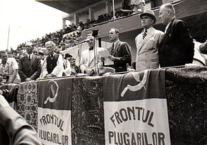Ploughmen's Front - June 1945 rally at Stadionul Republicii. From left to right: Romulus Zăroni (at microphone), Gheorghe Gheorghiu-Dej (speaking), Petru Groza (wearing hat), Mihai Ralea