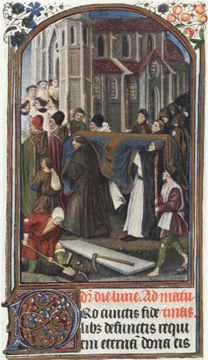 Christian burial - 15th-century monastic funeral procession entering Old St. Paul's Cathedral, London. The coffin is covered by a blue and gold pall, and the grave is being dug in the foreground.