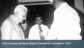 V. Manicavasagar - Justice V. Manicavasagar (left) opening the first Commercial Bank Branch in Galewela