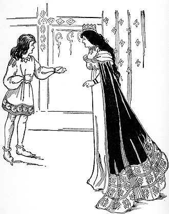 Morgause - Young Gareth appealing to his mother Morgause (Queen Bellicent) to let him go serve King Arthur in Tales from Tennyson, 1902