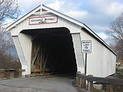 Geeting Covered Bridge, a historic site in the township