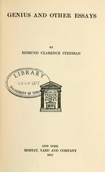 Edmund Clarence Stedman: Genius, and other essays