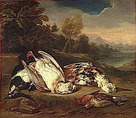 Dead Game in a Landscape: Two Woodcocks and Three Other Birds