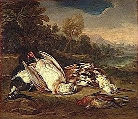 Gibier mort dans un paysage : deux bécasses blanches et trois autres oiseaux