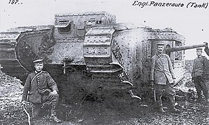 Tanks in World War I - Mark 3II; tank no. 799 captured near Arras on 11 April 1917
