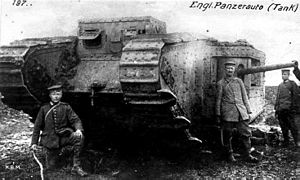 Tank gun - British Mk II tank captured by German troops in April 1917, showing long 57 mm naval gun in side sponson