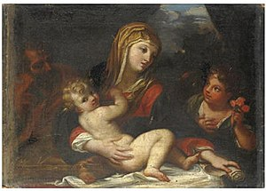 Giacinto Calandrucci - The Holy Family with San Giovanni by Giacinto Calandrucci, 1700